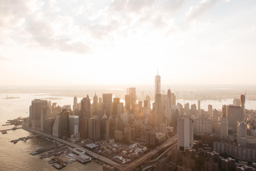 Skyline desde un helicóptero en Nueva York
