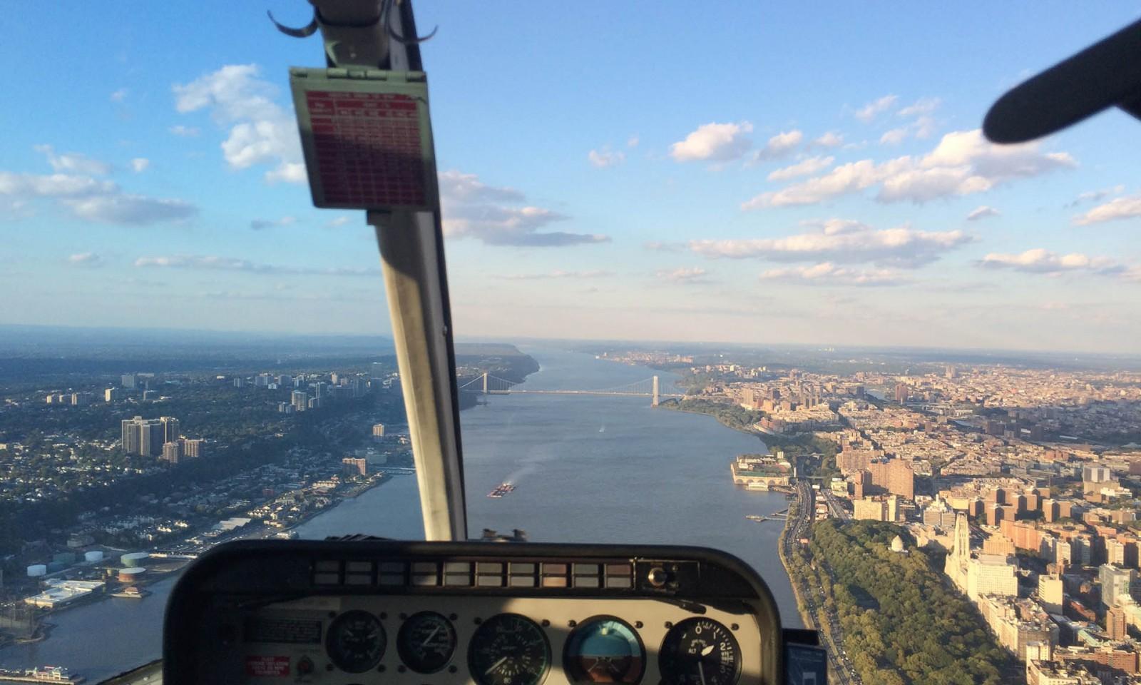 El Hudson desde un helicóptero en Nueva York