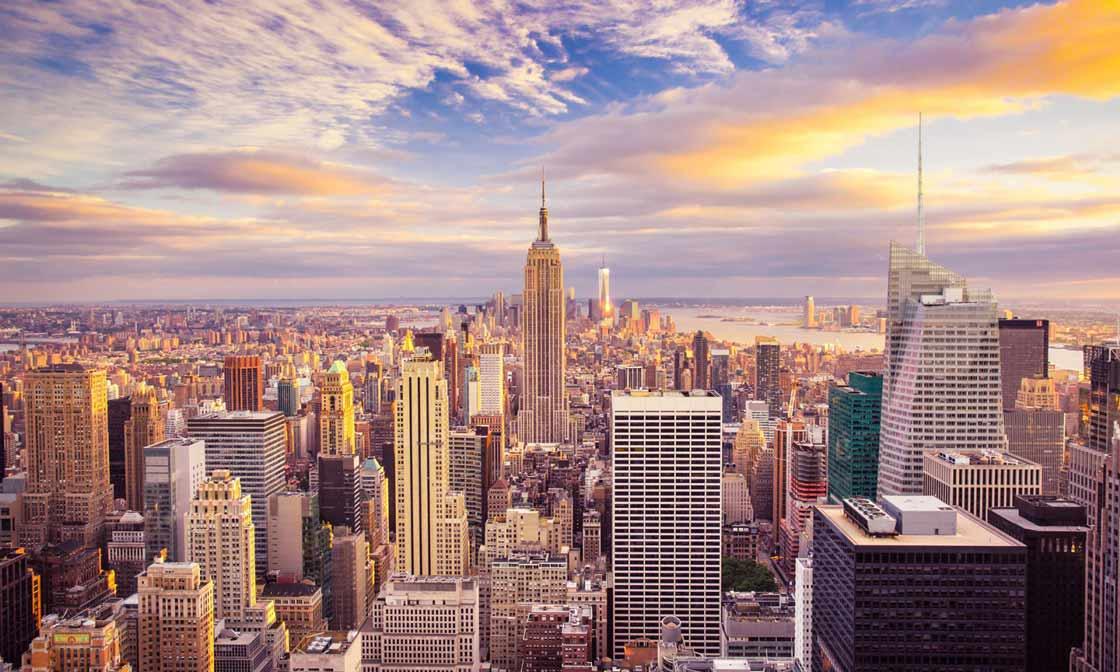 Sonnenuntergang über Midtown Manhattan
