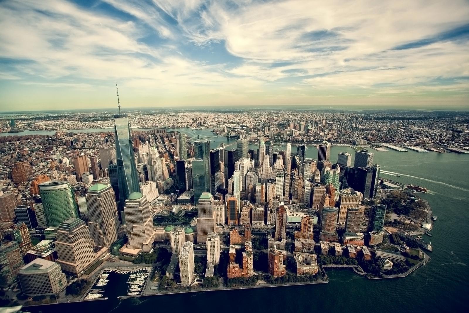 El World Trade Center de Nueva York desde el aire
