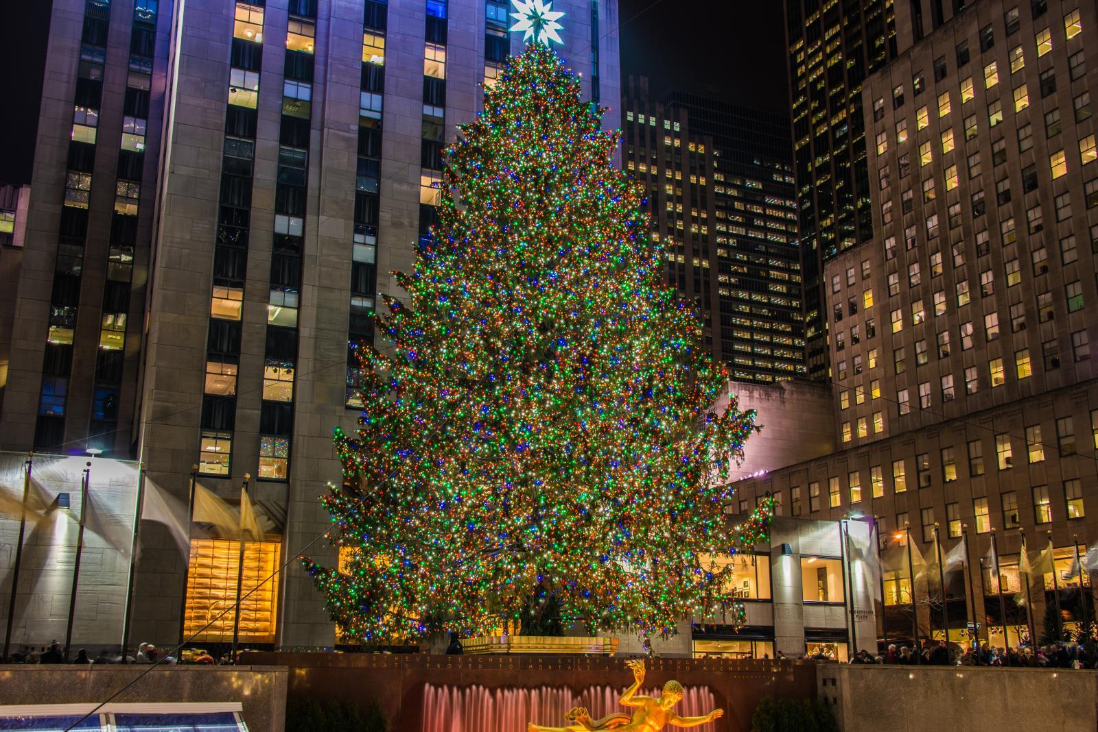 Encendido del árbol de Navidad del Rockefeller Center en noviembre en Nueva York