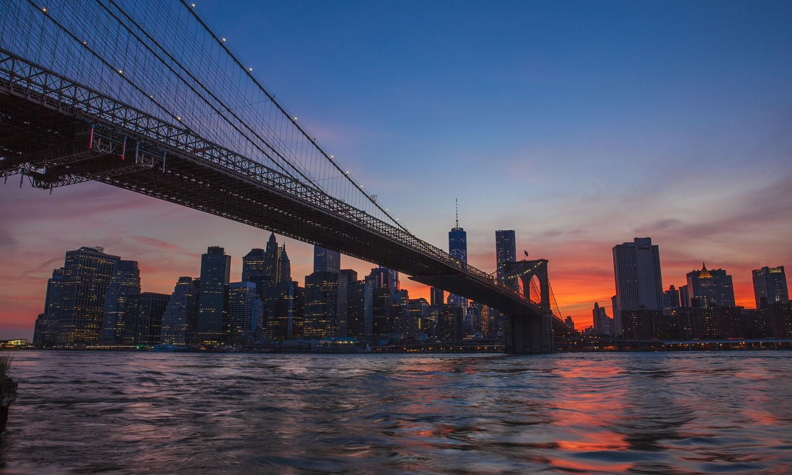Nueva York skyline anochecer