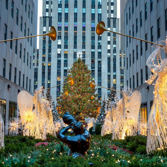 Ceremonia de encendido del árbol del Rockefeller Center de Nueva York